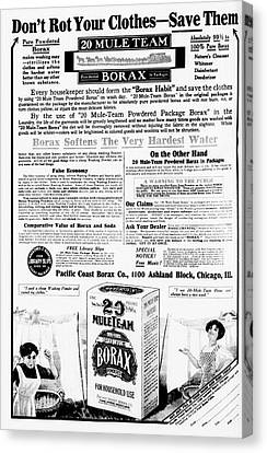 Borax Detergent Advert Canvas Print by Library Of Congress