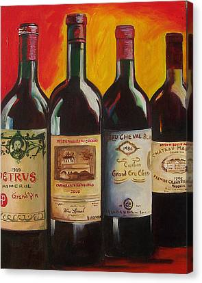 Wine Bottle Paining Canvas Print - Bordeaux by Sheri  Chakamian