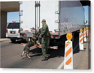Border Patrol Checkpoint Canvas Print by Jim West