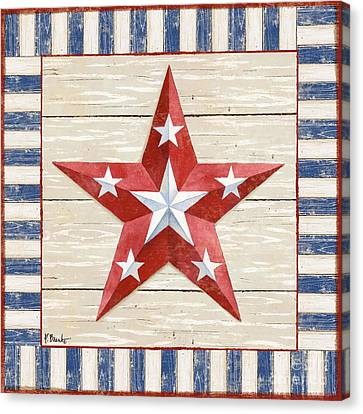 Bordered Patriotic Barn Star Iv Canvas Print by Paul Brent
