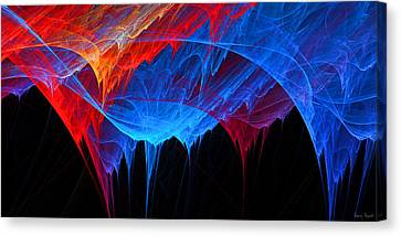 Borealis - Blue And Red Abstract Canvas Print by Lourry Legarde