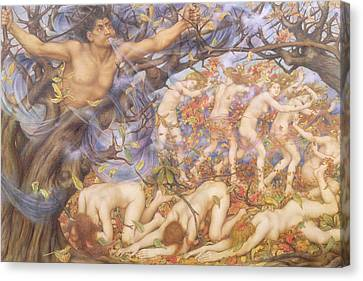Boreas And Fallen Leaves Canvas Print by Evelyn De Morgan