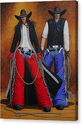Contemporary Cowgirl Canvas Print - Born In The Usa by Lance Headlee