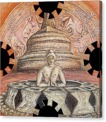 Borobudur Canvas Print by Anna Maria Guarnieri