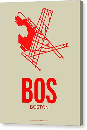 Bos Boston Airport Poster 1 Canvas Print by Naxart Studio