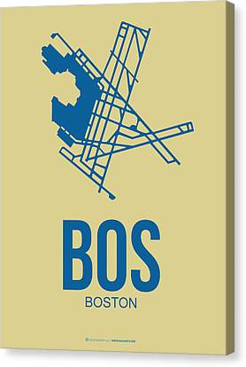 Plane Canvas Print - Bos Boston Airport Poster 3 by Naxart Studio