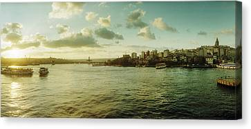 Bosphorus Strait At Sunset, Istanbul Canvas Print by Panoramic Images