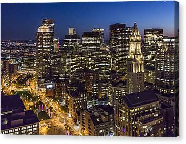 Boston And The Custom House Tower At Night Canvas Print