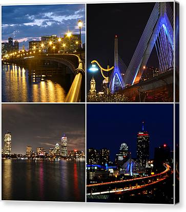 Boston At Night Collage Canvas Print by Toby McGuire