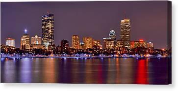 Boston Back Bay Skyline At Night Color Panorama Canvas Print by Jon Holiday