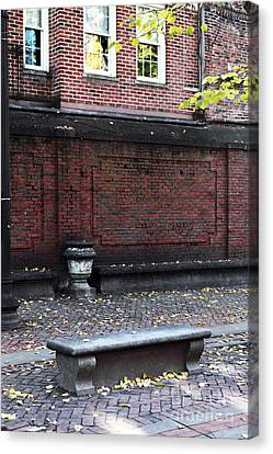 Boston Bench Canvas Print by John Rizzuto