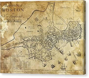 Boston Bonner Map 1722 Canvas Print