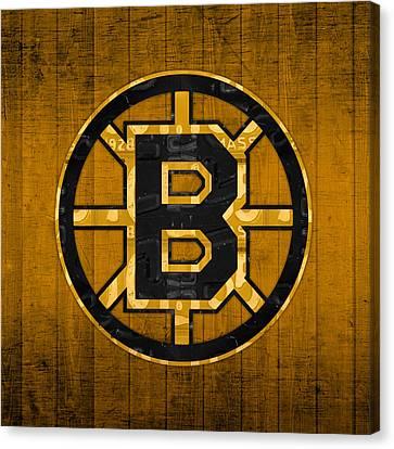 Boston Bruins Hockey Team Retro Logo Vintage Recycled Massachusetts License Plate Art Canvas Print by Design Turnpike