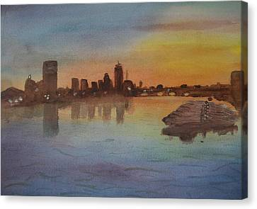 Boston Charles River At Sunset  Canvas Print by Donna Walsh