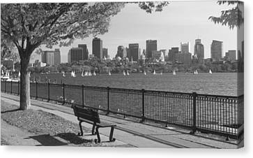 Boston Charles River Black And White  Canvas Print