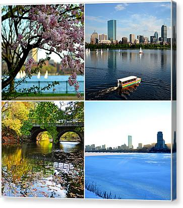 Boston Charles River Four Seasons Collage Canvas Print by Toby McGuire