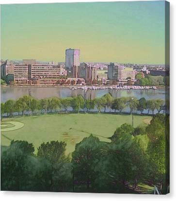 Boston Charles River View - Square Canvas Print by Lyn Voytershark