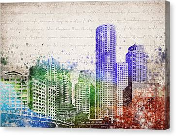 Boston City Skyline Canvas Print by Aged Pixel