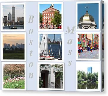 Charles River Canvas Print - Boston Collage by Barbara McDevitt