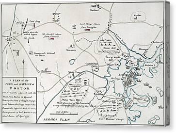Boston-concord Map, 1775 Canvas Print by Granger