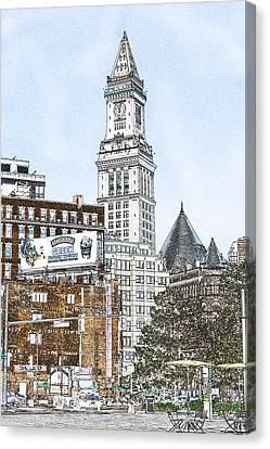 Boston Custom House Tower Canvas Print by Fred Larson