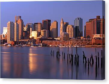 Custom House Tower Canvas Print - Boston Financial District And Harbor by Juergen Roth