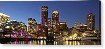 Boston Financial District Panoramic Photography Canvas Print by Juergen Roth