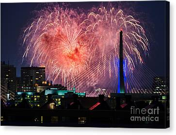 Canvas Print featuring the photograph Boston Fireworks 1 by Mike Ste Marie