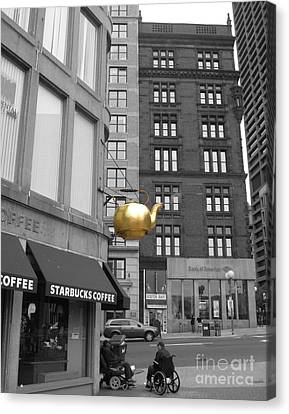 Canvas Print featuring the photograph Boston Golden Teapot by Cheryl Del Toro