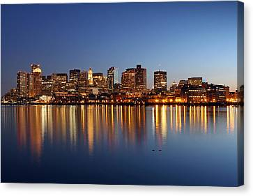 Boston Harbor And Downtown Canvas Print by Juergen Roth