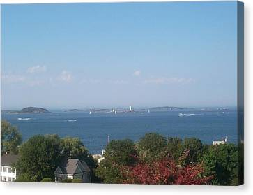 Canvas Print featuring the photograph Boston Harbor From Hull by Barbara McDevitt