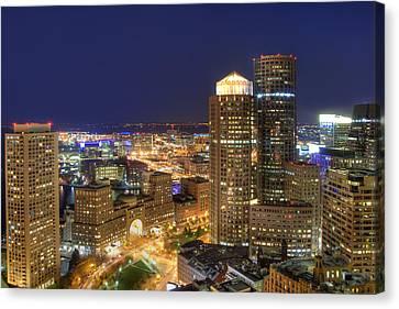 Boston Harbor Hotel Skyline Canvas Print by Joann Vitali