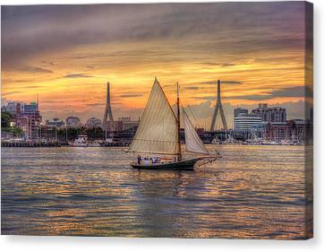 Boston Harbor Sunset Sail Canvas Print by Joann Vitali