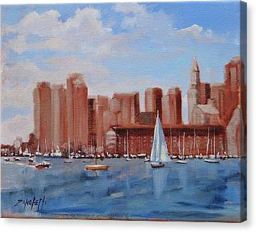 Boston Harbor View Canvas Print by Laura Lee Zanghetti