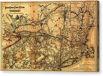 Boston Hoosac Tunnel And Western Railway Map 1881 Canvas Print