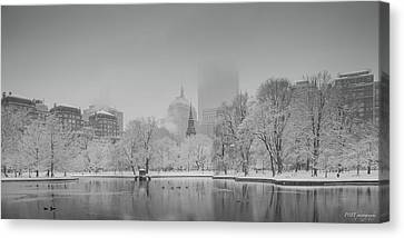 Boston In Snow Canvas Print