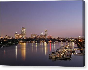 Boston Landmarks At Twilight Canvas Print by Juergen Roth