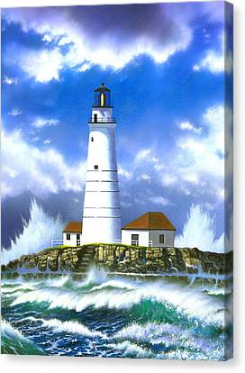 Boston Light Canvas Print by MGL Studio - Chris Hiett