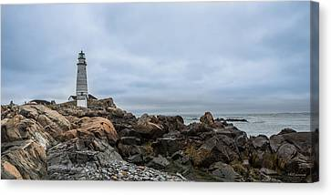 Boston Lighthouse On The Rocks Canvas Print