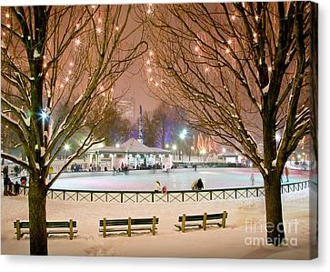 Boston New Year Skate Canvas Print by Susan Cole Kelly