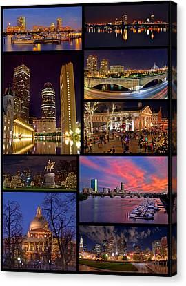 Boston Nights Collage Canvas Print by Joann Vitali