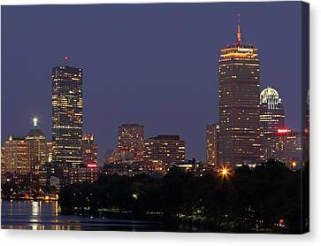 Boston Prudential Center In Bruins Yellow Canvas Print by Juergen Roth