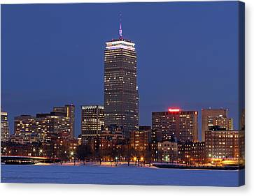 Boston Prudential Center In Patriots Gear Canvas Print by Juergen Roth
