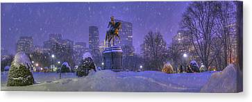 Boston Public Garden In Snow With Boston Skyline Canvas Print