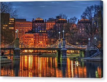 Boston Public Garden Lagoon Canvas Print by Joann Vitali