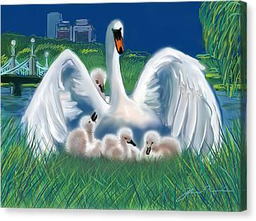 Boston Public Garden Swan Family Canvas Print by Jean Pacheco Ravinski