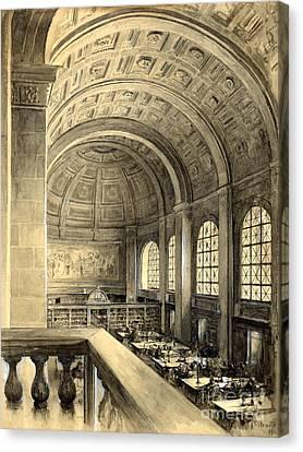 Boston Public Library Bates Hall 1896 Canvas Print by Padre Art