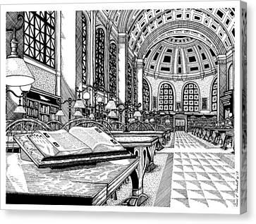 Boston Public Library Bates Hall Canvas Print by Conor Plunkett