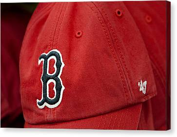 Boston Red Sox Baseball Cap Canvas Print by Susan Candelario