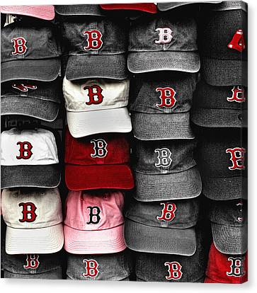 Boston Red Sox Caps Canvas Print by Joann Vitali